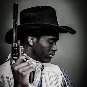 The Black Sheriff by Florin Marksteiner - People Portraits of Men ( contrast, pride, sorrow, guns, cowboy, sadness, sheriff, wild west, revolver, black,  )