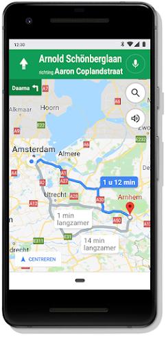 Scherm met Google Maps op mobiel