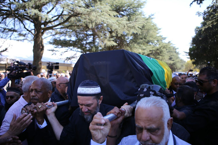 Pallbearers carry the coffin of Ahmed Kathrada at his funeral in Johannesburg. Picture: TMG Digital