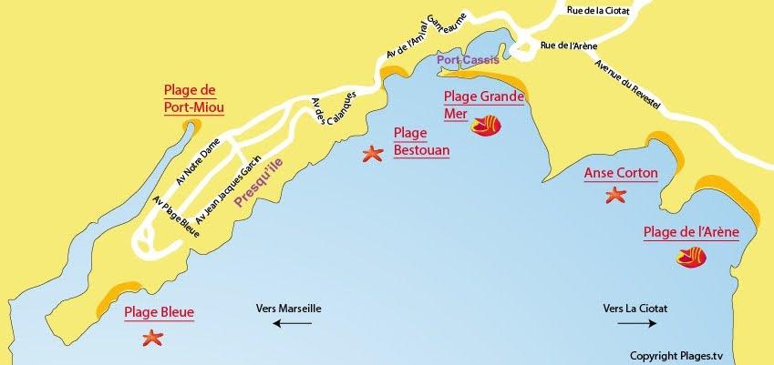 Кассис (Cassis) - городские пляжи