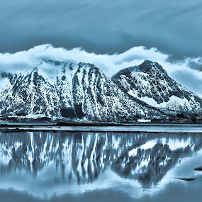 by Thomas Ebeltoft - Landscapes Mountains & Hills ( canon, skyline, mountains, blue, blue hour )