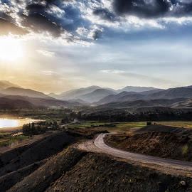 It's time to go. by Amir Kh - Landscapes Caves & Formations ( clouds, mountains, sky, village, sunset, lake, road, cave,  )
