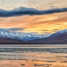 Along Turnagain Arm by Patricia Phillips - Landscapes Sunsets & Sunrises ( alaska sunset cook inlet  winter )