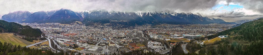 Photo: Insbruck, Austria February 2008  A Panoramic View From The Olympic Ski Jump overlooking Innsbruck that was stitched from 7 handheld frames.