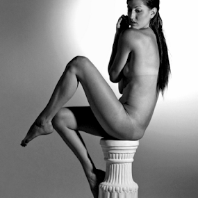 Perched on Top of a Pillar by Donna Neal - People Portraits of Women ( person, b&w, woman, portrait, c nude, artisti )