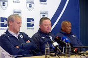 Coach Gavin Hunt of Wits with CEO Jose Ferreira and George Mokgotsi of Wits during the Bidvest Wits press conference and kit launch at Wits Sports Conference Centre, Sturrock Park on August 01, 2017 in Johannesburg, South Africa.