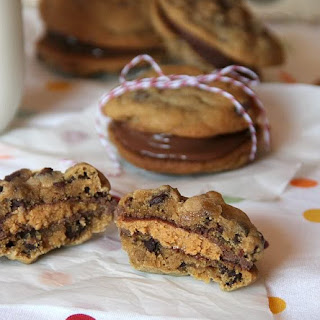 Chocolate Chip Peanut Butter Cup Cookie Sandwiches