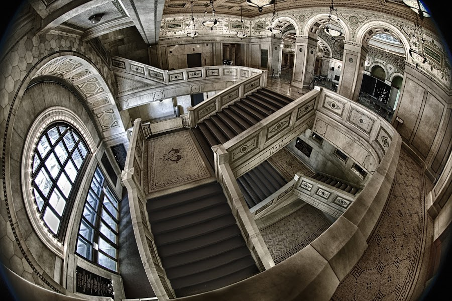 Chicago Stairs by Jan Kiese - Buildings & Architecture Architectural Detail