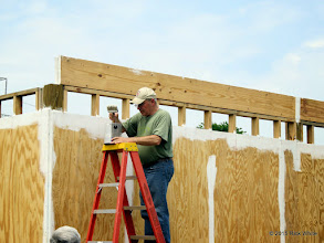 Photo: Bob Barnett painting the edges of the plywood again.    HALS Work Day 2015-0411 RPW