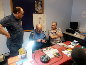 Photo: 008 Over to the 009 side of the hobby, we meet members of the Greenwich Society who have kept the range of ex Meridian models available or under re-issue. Neil Moss, Pete Wilson and Neil Sayer .