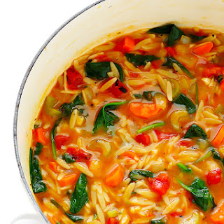 Italian Orzo Spinach Soup.