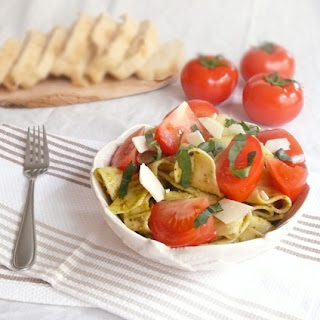 Rustic Pappardelle with Pesto and Fresh Tomatoes