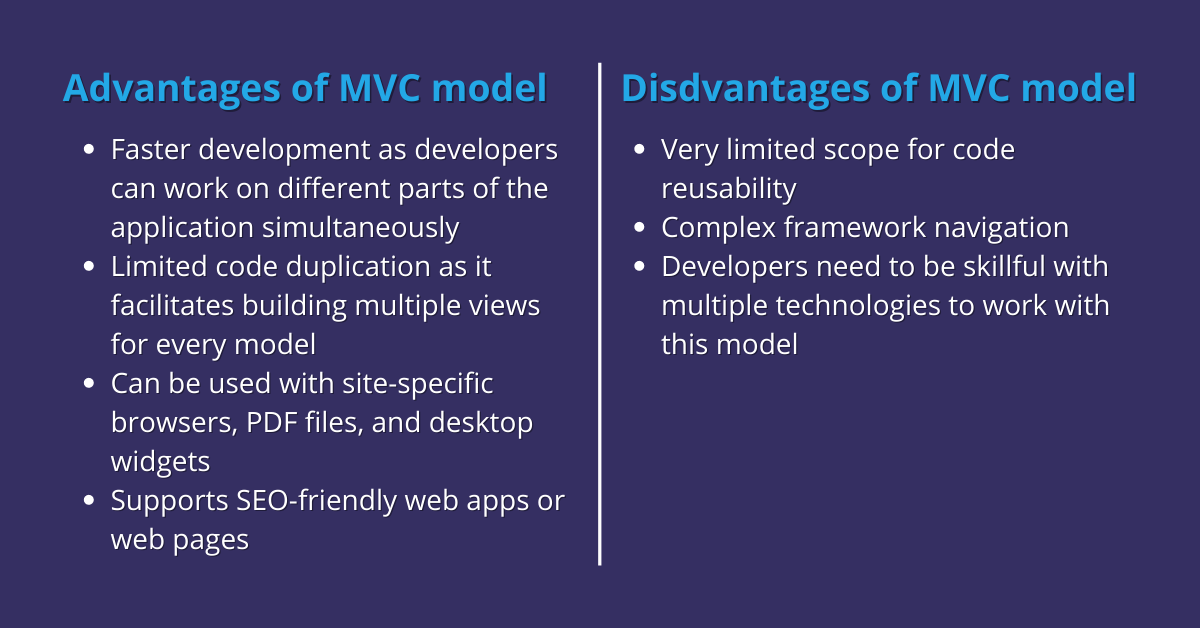Advantages and disadvantages of MVC model