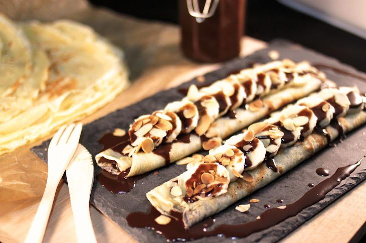 Crepes with Chocolate Sauce, Banana, and Almond