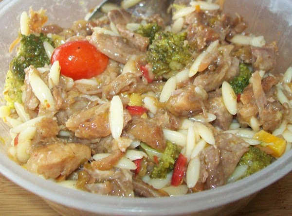 Take 2 cups of the orzo salad and mix it into the pork.