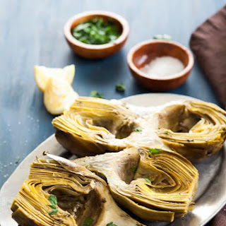 Oven Braised Artichokes with Garlic and Thyme.