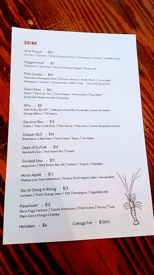 Cocktail list of a dozen drinks at pop up Shipwreck PDX at Taqueria Nueve in May