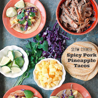 Slow Cooker Spicy Pork Pineapple Tacos.
