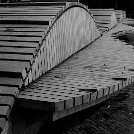 A Seat by Riverside Walk by DJ Cockburn - Black & White Objects & Still Life ( england, london, bench, city, curve, nine elms, riverside walk, city park, pocket park, building, grayscale, seat, urban, furniture, uk, prescot wharf, monochrome, cityscape, wood, little albacete, timber, black and white, plank, architecture )