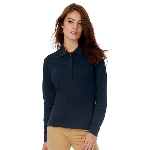 B&C Safran Long Sleeve Polo Shirts