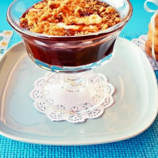 Chocolate [cold] With Coffee and Cinnamon With A Quenelle Of Mascarpone and Cream With Crumbled Chocolate Cookies.
