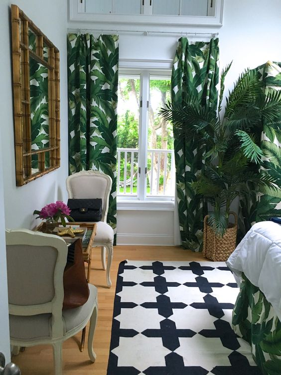 Bring Forest into Your Bedroom with Tropical Curtains
