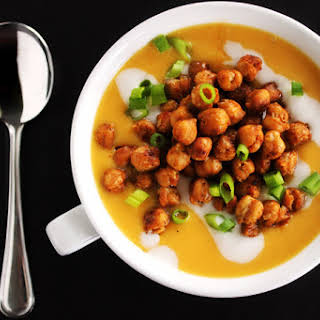 Butternut Squash Soup With Smoked Gouda And Spicy Chickpeas.