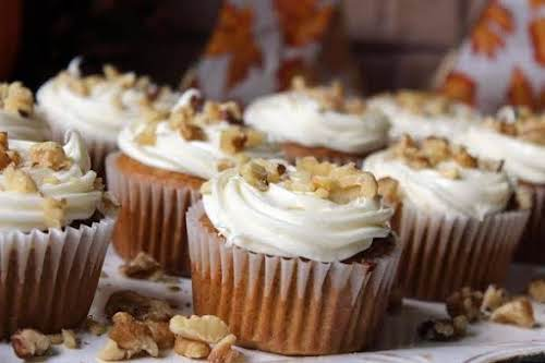 """Tasty Autumn Cupcakes""""This yummy cupcake filled the Test Kitchen with the comforting..."""