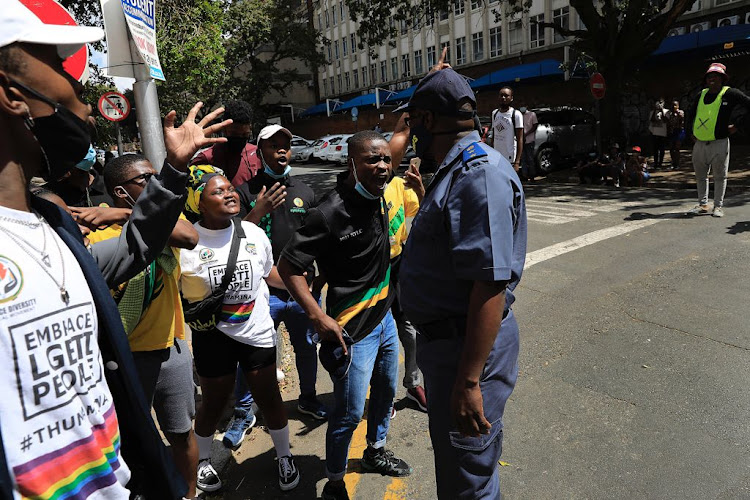 Three protesters were arrested and taken to the Hillbrow police station on Wednesday.