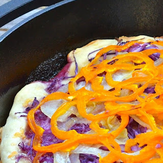 Cabbage, Pepper, and Caramelized Onion Pizza.