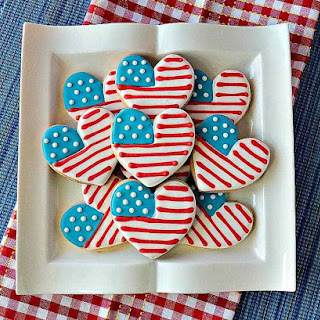 How to Make American Flag Heart Decorated Sugar Cookies with Video Presentation Recipe