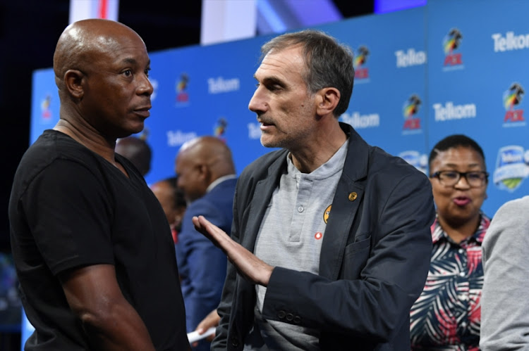 Black Leopards coach Joel Masutha and Kaiser Chiefs coach Giovanni Solinas during the Telkom Knockout last 16 Draw at SuperSport Studios on October 08, 2018 in Johannesburg, South Africa.