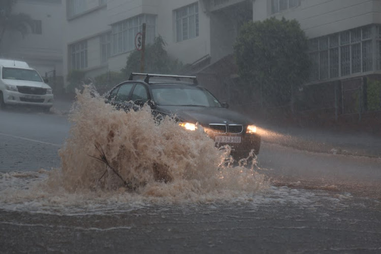 Flooded streets in Durban on 10 October 2017.