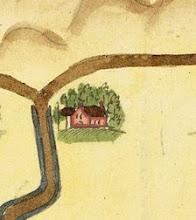 """Photo: Bron: Nationaal Archief, Collectie Hingman, kaart van de grensscheiding tussen Noordwijk en Noordwijkerhout, augustus 1612, Floris Jacobz   Detail van de kaart met de boerderij ten noorden van de Langevelderlaan op de plaats waar nu restaurant """"Langs Berg en Dal"""" staat  https://www.gahetna.nl/collectie/afbeeldingen/kaartencollectie/zoeken/weergave/detail/start/5/tstart/0/q/zoekterm/noordwijk/q/commentaar/1"""