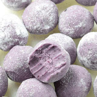 White Chocolate Blueberry Truffles.