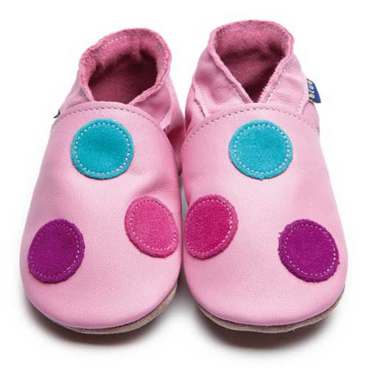 Inch Blue Soft Sole Leather Shoes - Spotty Dotty Pink (6-12 months) by Berry Wonderful