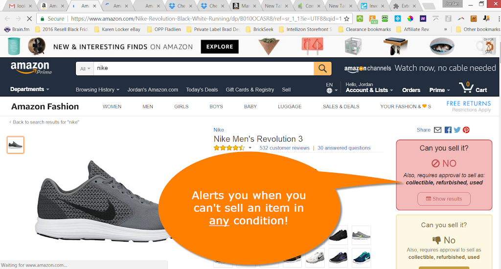 Permission to sell nike on Amazon