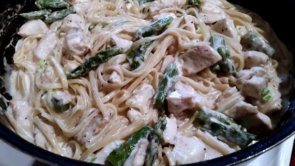 Add the pasta back to the same skillet, along with the cream, chicken and...