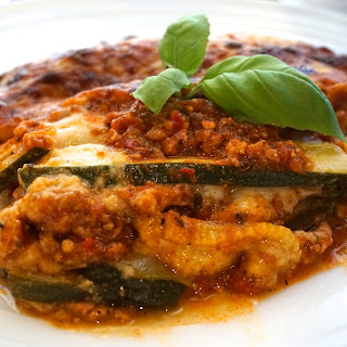 Courgette / Zucchini lasagna with turkey Bolognese recipe (low carb no pasta)
