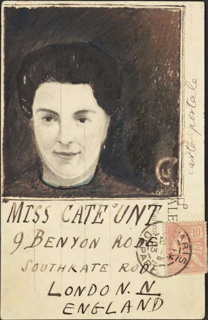 <p> <strong>L&eacute;on Coupey</strong><br /> <strong>To MISS CATE &#39;UNT (London</strong>)<br /> Ink on card<br /> 5 &frac12;&quot; x 3 &frac12;&quot;<br /> 1903</p> <p> Collection Holly Coupey, Toronto<br /> Set 5.4</p>