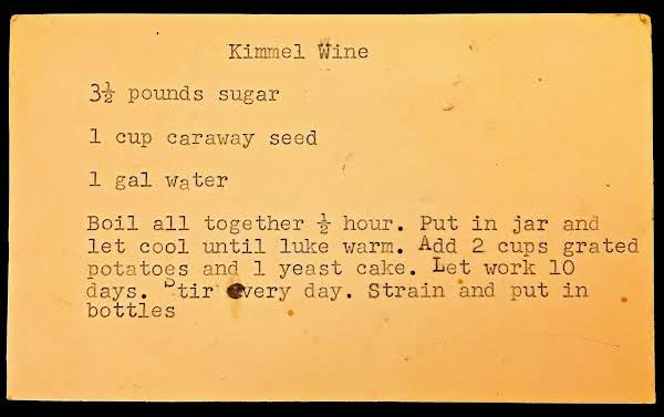 Kimmel Wine (1936 Recipe)