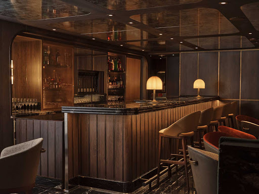 The bar counter of the Salt Bar aboard Silver Moon.