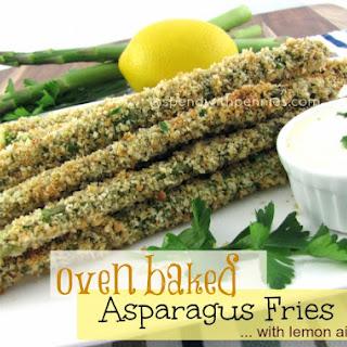 Oven Baked Asparagus Fries with Lemon Aioli