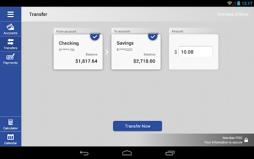 First Bank of Berne for Tablet- screenshot thumbnail