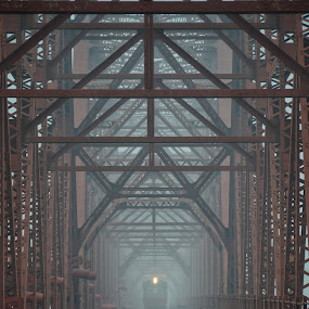 Anderson Bridge Bangladesh..... by Ashif Hasan - Transportation Railway Tracks ( anderson bridge bangladesh, foggy, railroad, color, structure, transportation, voirob bridge, light, ashif hasan, dark, red bridge, bridge, railway, lines, old voirob bridge, train )