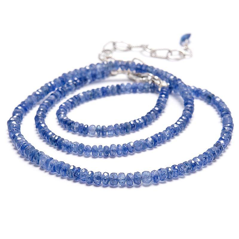 Safir, halsband med fasettslipade rondeller