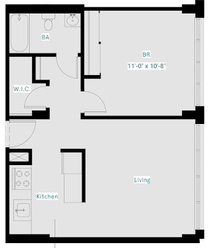 Go to One Bed, One Bath East (Deluxe) Floorplan page.