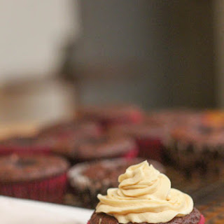 Chocolate & Caramel Cupcakes with a Salted Caramel Frosting