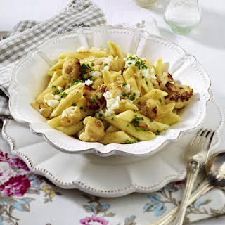 Penne Pasta with Roasted Cauliflower, Almonds and Eggs.