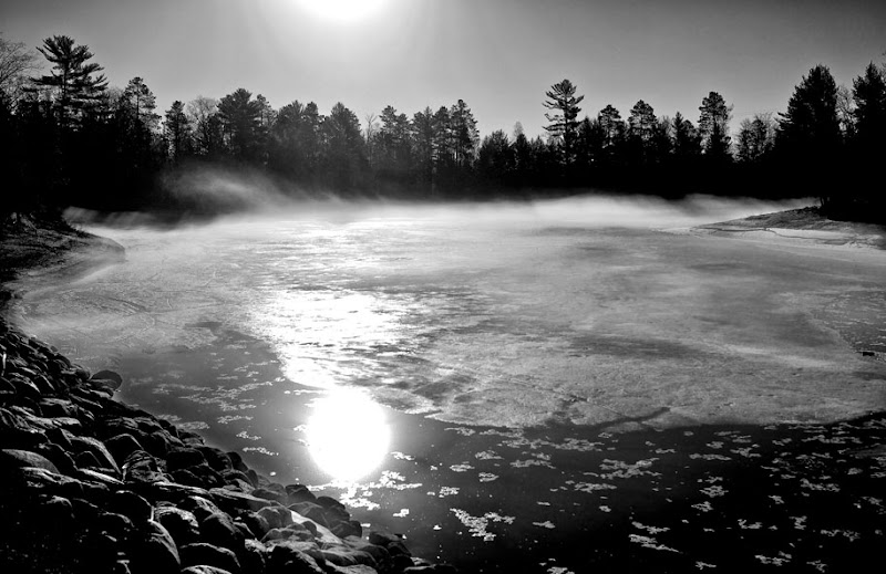 Photo: Warm temperatures in northern Wisconsin caused fog to develop on the still frozen lakes.
